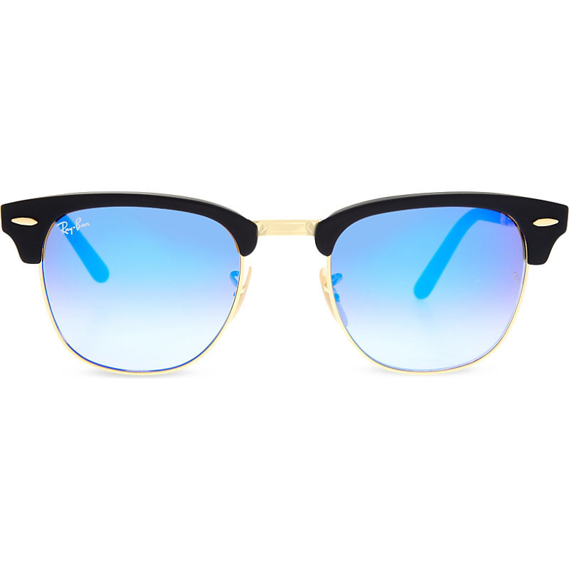 Rb2176 Clubmaster Folding Sunglasses, Women's, Matte Black - predominant colour: diva blue; secondary colour: black; occasions: casual, holiday; style: round; size: standard; material: plastic/rubber; pattern: plain; finish: plain; season: s/s 2016; wardrobe: highlight
