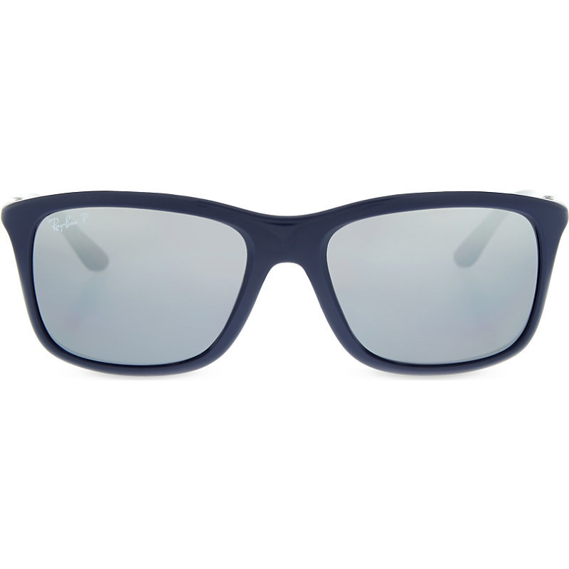 Rb8352 Square Frame Sunglasses, Women's, Blue - predominant colour: navy; style: square; size: standard; material: plastic/rubber; pattern: plain; occasions: holiday; finish: plain; season: s/s 2016; wardrobe: basic
