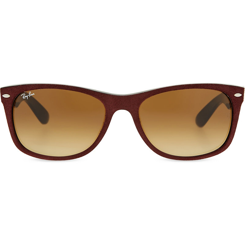 Rb2132 New Wayfarer Suede Effect Sunglasses, Women's, Alcantara - predominant colour: chocolate brown; occasions: casual, holiday; style: d frame; size: standard; material: plastic/rubber; pattern: tortoiseshell; finish: plain; season: s/s 2016; wardrobe: basic