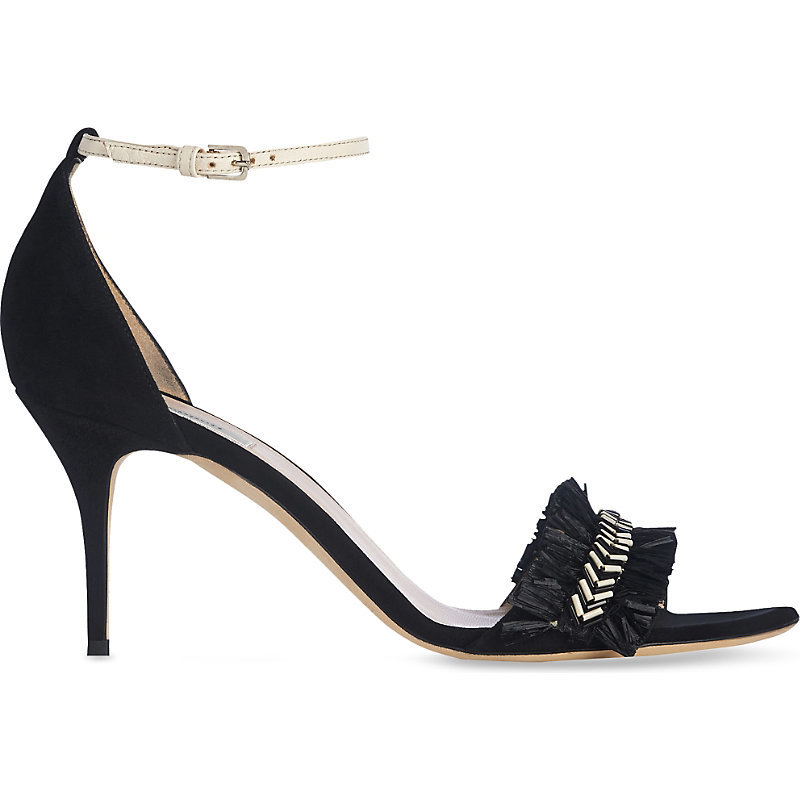 Milla Raffia Detail Suede Sandals, Women's, Eur 39 / 6 Uk Women, Bla Black - predominant colour: black; occasions: evening, occasion; material: suede; heel height: high; ankle detail: ankle strap; heel: stiletto; toe: open toe/peeptoe; style: standard; finish: plain; pattern: plain; embellishment: chain/metal; season: s/s 2016; wardrobe: event