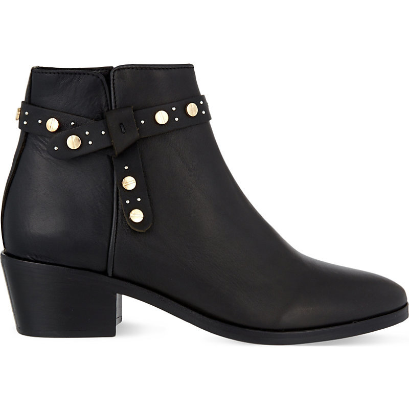 Axel Leather Heeled Ankle Boots, Women's, Eur 37 / 4 Uk Women, Noir - predominant colour: black; occasions: casual, creative work; material: leather; heel height: mid; embellishment: studs; heel: block; toe: round toe; boot length: ankle boot; style: standard; finish: plain; pattern: plain; season: s/s 2016; wardrobe: highlight