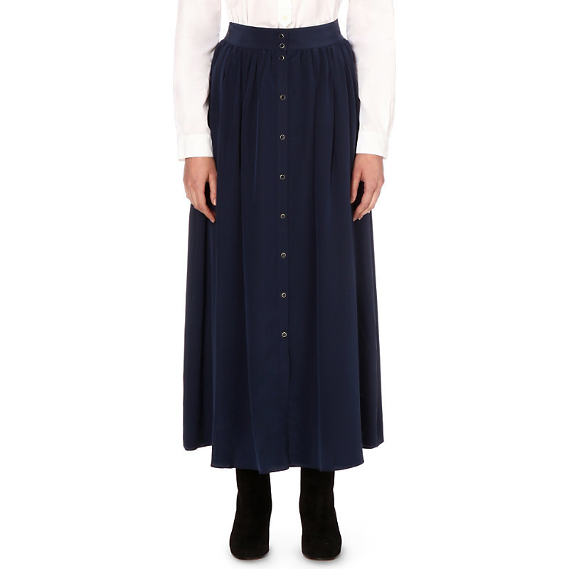 Fauboourg Silk Skirt, Women's, Dark Blue/Gold - pattern: plain; length: ankle length; fit: body skimming; waist: mid/regular rise; predominant colour: navy; occasions: casual; style: maxi skirt; fibres: silk - 100%; pattern type: fabric; texture group: other - light to midweight; season: s/s 2016; wardrobe: basic