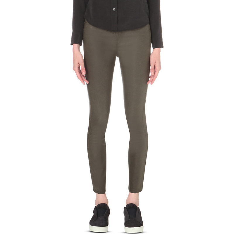 Margot Skinny High Rise Jeans, Women's, Army Luxe Coating - style: skinny leg; pattern: plain; pocket detail: traditional 5 pocket; waist: mid/regular rise; predominant colour: khaki; occasions: casual; length: ankle length; fibres: cotton - stretch; texture group: denim; pattern type: fabric; season: s/s 2016; wardrobe: highlight
