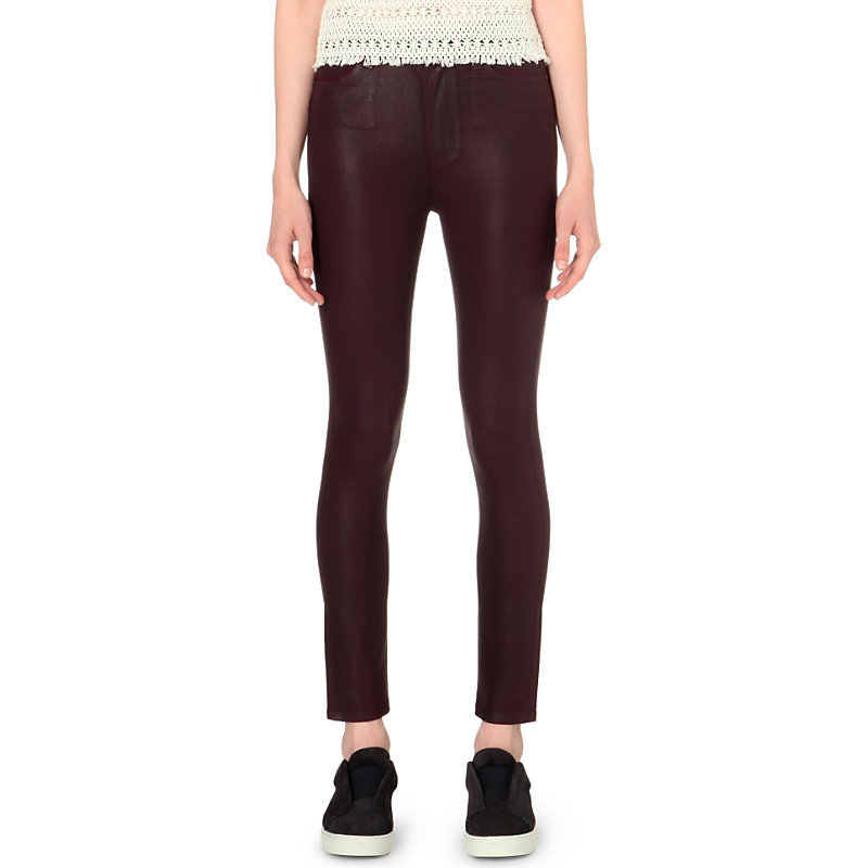 Margot Skinny Coated High Rise Jeans, Women's, Wine Luxe Coating - style: skinny leg; length: standard; pattern: plain; pocket detail: traditional 5 pocket; waist: mid/regular rise; predominant colour: burgundy; occasions: evening; fibres: cotton - stretch; texture group: denim; pattern type: fabric; season: s/s 2016; wardrobe: event