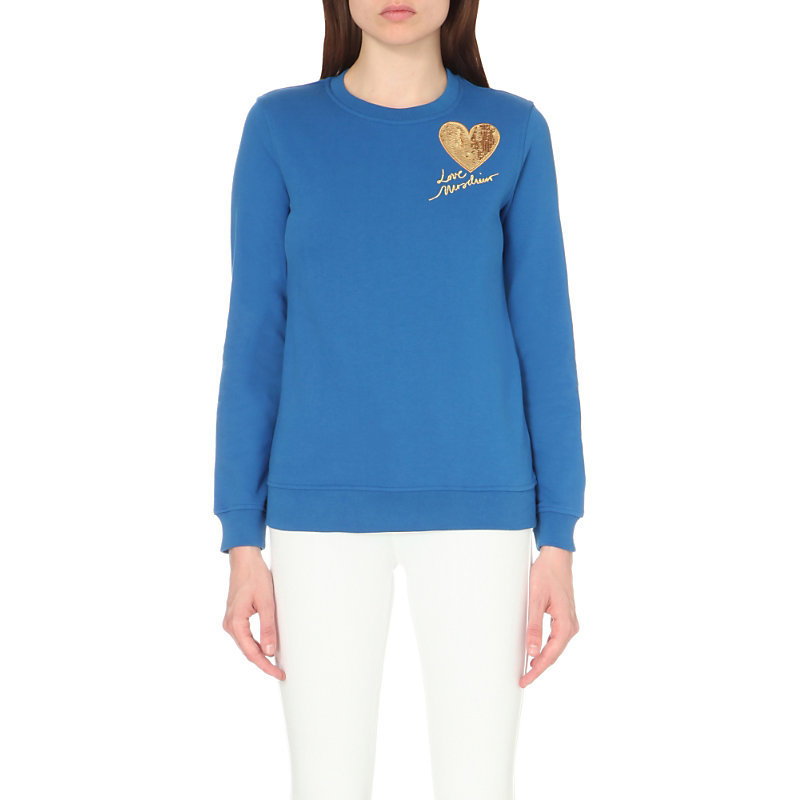 Sequin Embroidered Cotton Sweatshirt, Women's, Blue - pattern: plain; style: sweat top; predominant colour: diva blue; secondary colour: gold; occasions: casual; length: standard; fibres: cotton - 100%; fit: body skimming; neckline: crew; sleeve length: long sleeve; sleeve style: standard; pattern type: fabric; texture group: jersey - stretchy/drapey; embellishment: sequins; season: s/s 2016; wardrobe: highlight