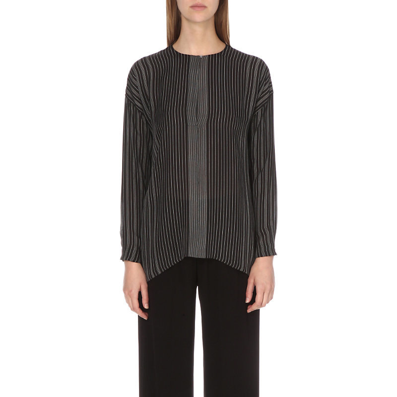Striped Silk Blouse, Women's, Black/White - pattern: pinstripe; style: blouse; secondary colour: white; predominant colour: black; occasions: casual, creative work; length: standard; fibres: silk - 100%; fit: straight cut; neckline: crew; sleeve length: long sleeve; sleeve style: standard; trends: monochrome; texture group: sheer fabrics/chiffon/organza etc.; pattern type: fabric; pattern size: standard; season: s/s 2016; wardrobe: highlight