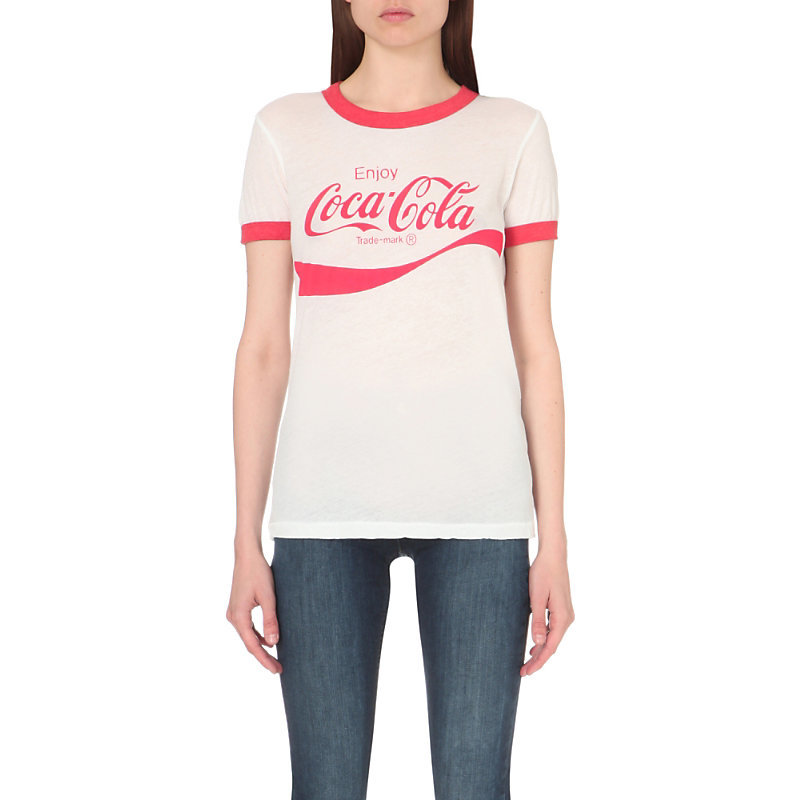 Coca Cola Cotton Jersey T Shirt, Women's, Size: Medium, Clean White/India - style: t-shirt; predominant colour: white; secondary colour: true red; occasions: casual; length: standard; fibres: cotton - 100%; fit: body skimming; neckline: crew; sleeve length: short sleeve; sleeve style: standard; pattern type: fabric; texture group: jersey - stretchy/drapey; pattern: graphic/slogan; multicoloured: multicoloured; season: s/s 2016; wardrobe: highlight