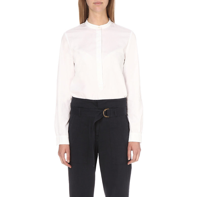 Asia Cotton Shirt, Women's, White - pattern: plain; style: shirt; predominant colour: white; occasions: work; length: standard; neckline: collarstand; fibres: cotton - 100%; fit: body skimming; sleeve length: long sleeve; sleeve style: standard; texture group: cotton feel fabrics; pattern type: fabric; season: s/s 2016; wardrobe: basic