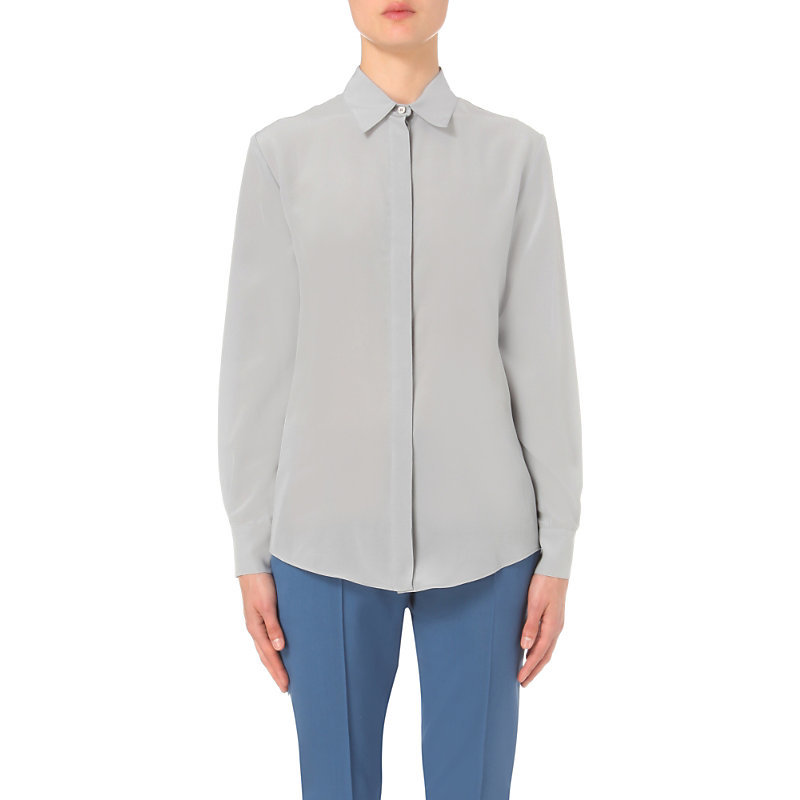 Classic Silk Shirt, Women's, Grey - neckline: shirt collar/peter pan/zip with opening; pattern: plain; style: shirt; predominant colour: light grey; occasions: casual, work, creative work; length: standard; fibres: silk - 100%; fit: body skimming; sleeve length: long sleeve; sleeve style: standard; texture group: silky - light; pattern type: fabric; season: s/s 2016; wardrobe: basic