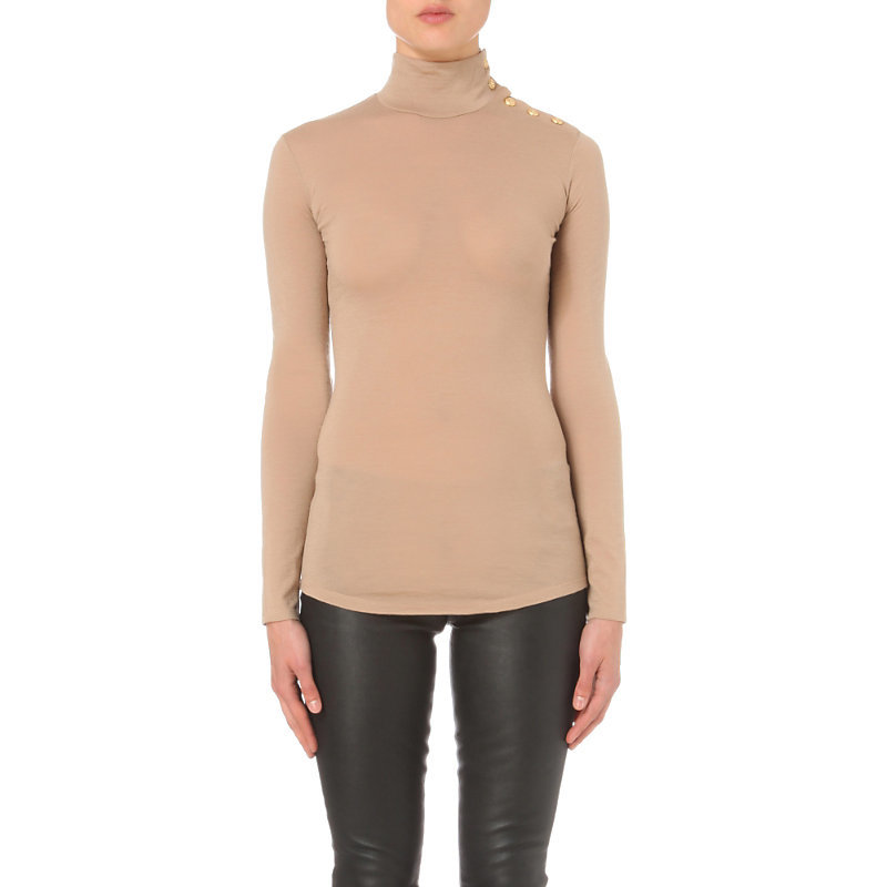 Crested Poppers Wool Jersey Top, Women's, Light Salmon - pattern: plain; length: below the bottom; neckline: roll neck; predominant colour: camel; occasions: casual, work, creative work; style: top; fibres: wool - 100%; fit: body skimming; sleeve length: long sleeve; sleeve style: standard; pattern type: fabric; texture group: jersey - stretchy/drapey; season: s/s 2016; wardrobe: basic