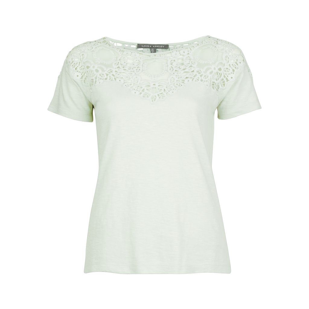 Lace Mesh Insert T Shirt - neckline: round neck; pattern: plain; style: t-shirt; predominant colour: pistachio; occasions: casual, creative work; length: standard; fibres: cotton - 100%; fit: body skimming; sleeve length: short sleeve; sleeve style: standard; pattern type: fabric; texture group: jersey - stretchy/drapey; embellishment: lace; season: s/s 2016; wardrobe: highlight