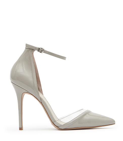 Gaia Patent Patent Leather And Vinyl Shoes - predominant colour: light grey; occasions: evening, occasion, creative work; material: leather; heel height: high; ankle detail: ankle strap; heel: stiletto; toe: pointed toe; style: courts; finish: plain; pattern: plain; season: s/s 2016; wardrobe: investment