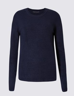 Soft Round Neck Jumper - pattern: plain; style: standard; predominant colour: navy; occasions: casual, creative work; length: standard; fibres: acrylic - 100%; fit: standard fit; neckline: crew; sleeve length: long sleeve; sleeve style: standard; texture group: knits/crochet; pattern type: knitted - fine stitch; season: s/s 2016; wardrobe: basic