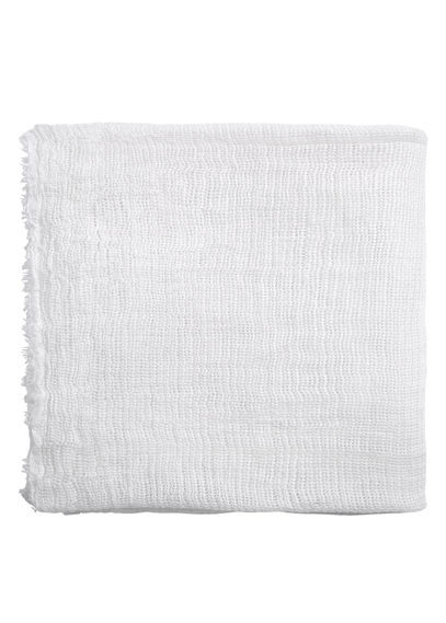 Textured Scarf - predominant colour: white; occasions: casual, creative work; type of pattern: standard; style: regular; size: standard; material: fabric; pattern: plain; season: s/s 2016; wardrobe: basic
