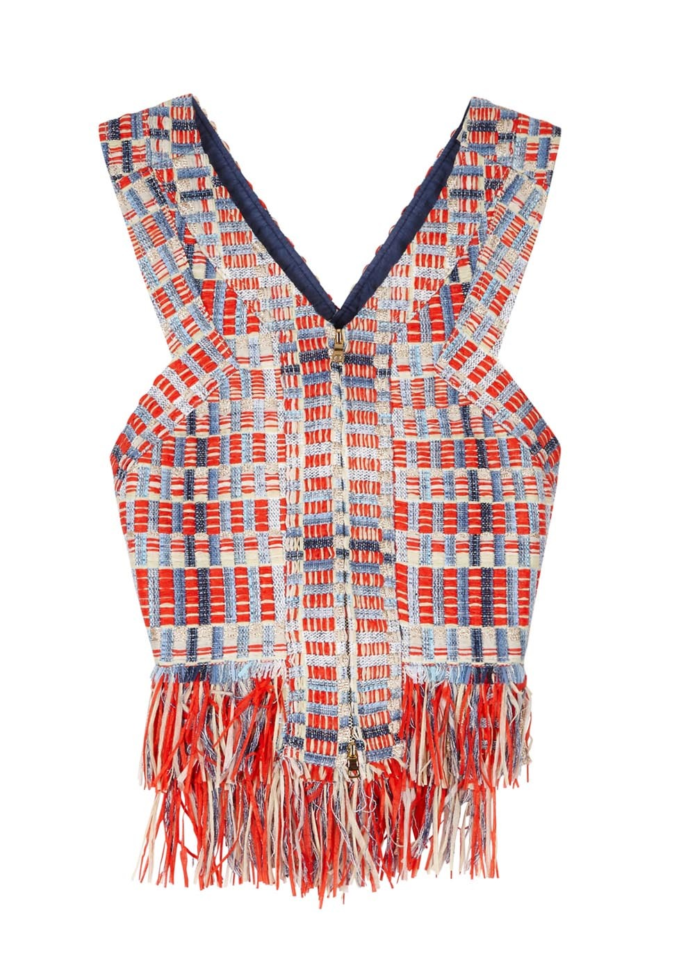 Tara Fringed Tweed Top - neckline: low v-neck; sleeve style: sleeveless; length: cropped; pattern: herringbone/tweed; predominant colour: true red; secondary colour: pale blue; occasions: casual; style: top; fibres: polyester/polyamide - mix; fit: tight; sleeve length: sleeveless; pattern type: fabric; pattern size: standard; texture group: woven light midweight; multicoloured: multicoloured; season: s/s 2016; wardrobe: highlight