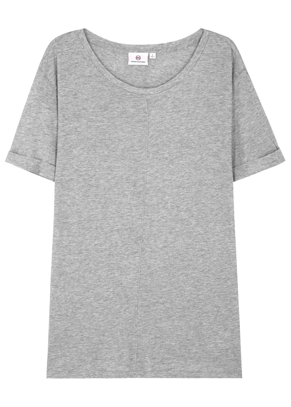 The Raw Grove Grey Jersey T Shirt - neckline: round neck; pattern: plain; style: t-shirt; predominant colour: light grey; occasions: casual; length: standard; fibres: cotton - mix; fit: body skimming; sleeve length: short sleeve; sleeve style: standard; pattern type: fabric; texture group: jersey - stretchy/drapey; season: s/s 2016