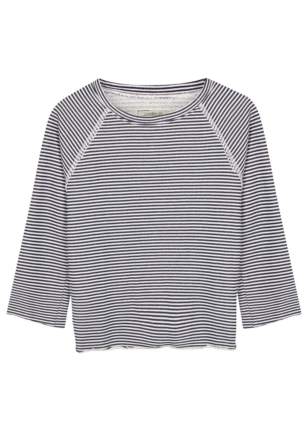 Navy And White Striped Cotton Blend Top - neckline: round neck; pattern: horizontal stripes; secondary colour: white; predominant colour: navy; occasions: casual; length: standard; style: top; fibres: cotton - mix; fit: body skimming; sleeve length: 3/4 length; sleeve style: standard; pattern type: fabric; pattern size: standard; texture group: jersey - stretchy/drapey; season: s/s 2016; wardrobe: basic