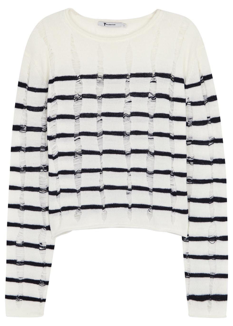 Striped Laddered Fine Knit Wool Jumper - neckline: round neck; pattern: horizontal stripes; style: standard; predominant colour: white; secondary colour: navy; occasions: casual, creative work; length: standard; fibres: wool - 100%; fit: standard fit; sleeve length: long sleeve; sleeve style: standard; texture group: knits/crochet; pattern type: knitted - fine stitch; pattern size: standard; season: s/s 2016; wardrobe: highlight