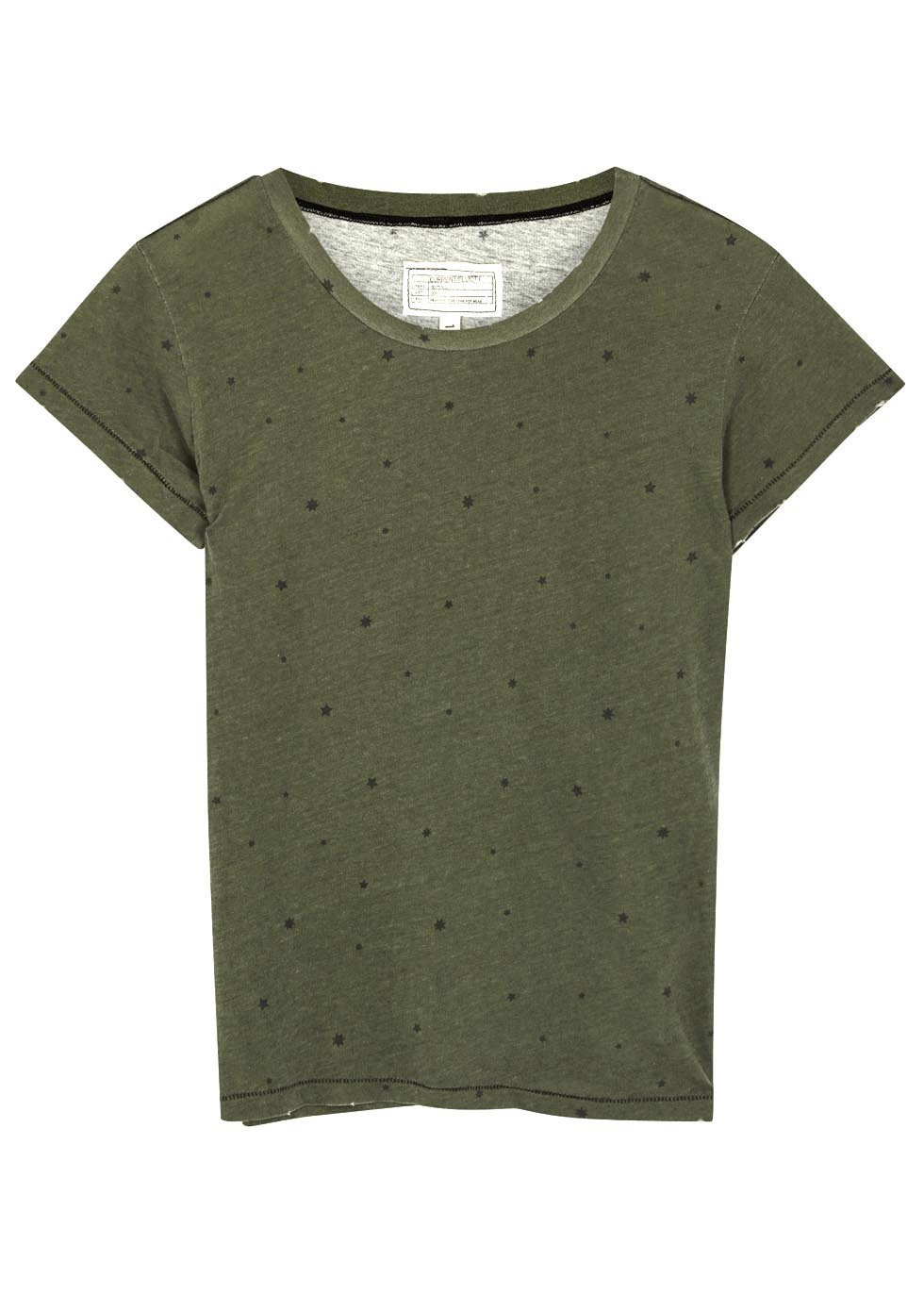 Army Green Star Printed Cotton T Shirt - neckline: round neck; pattern: plain; style: t-shirt; predominant colour: dark green; occasions: casual; length: standard; fibres: cotton - 100%; fit: body skimming; sleeve length: short sleeve; sleeve style: standard; pattern type: fabric; texture group: jersey - stretchy/drapey; season: s/s 2016