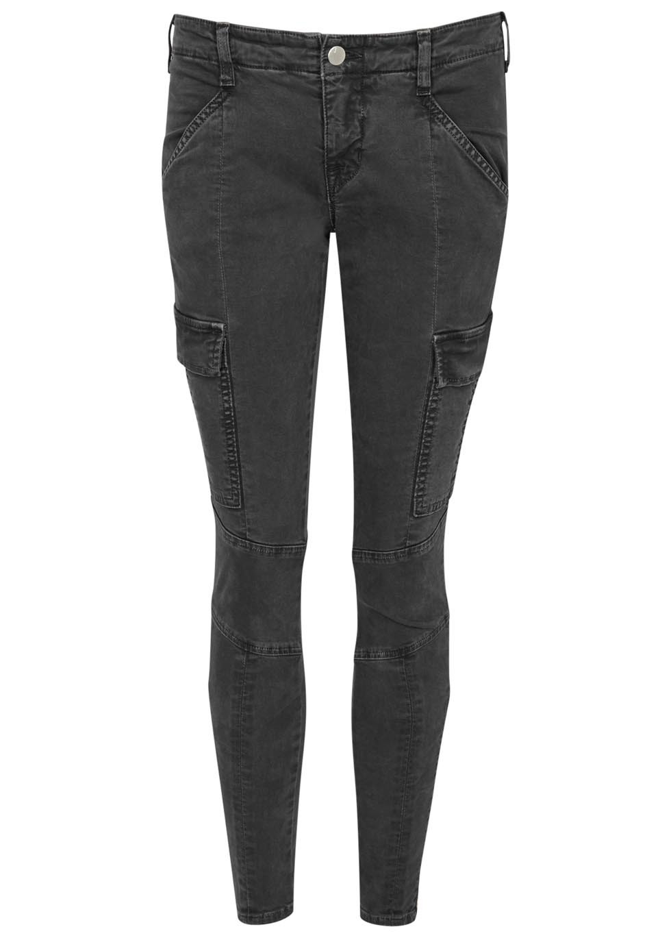 Houlihan Grey Skinny Cargo Trousers - pattern: plain; waist: mid/regular rise; style: cargo; predominant colour: charcoal; occasions: casual, creative work; length: ankle length; fibres: cotton - stretch; texture group: denim; fit: skinny/tight leg; pattern type: fabric; season: s/s 2016; wardrobe: basic