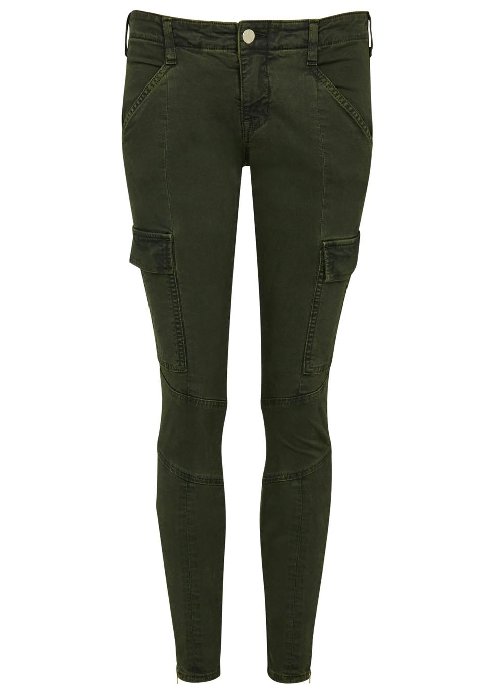 Houlihan Army Green Skinny Cargo Trousers - pattern: plain; waist: mid/regular rise; style: cargo; predominant colour: dark green; occasions: casual; length: ankle length; fibres: cotton - stretch; fit: skinny/tight leg; pattern type: fabric; texture group: woven light midweight; season: s/s 2016