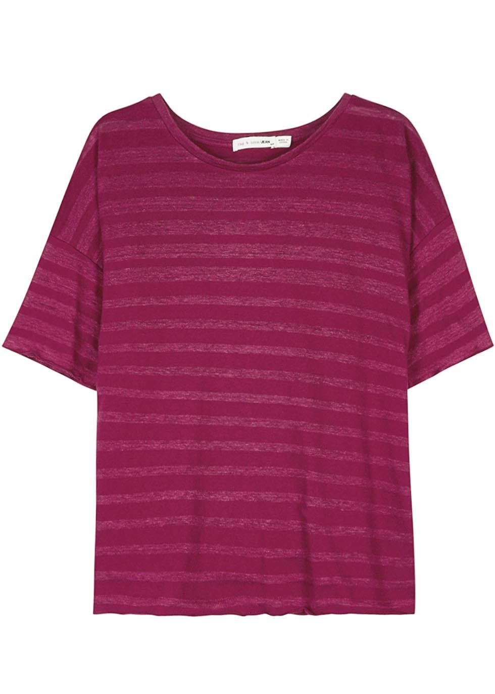 Raspberry Striped Cotton Blend T Shirt - neckline: round neck; pattern: horizontal stripes; style: t-shirt; occasions: casual; length: standard; fibres: cotton - mix; fit: loose; sleeve length: short sleeve; sleeve style: standard; pattern type: fabric; pattern size: standard; texture group: jersey - stretchy/drapey; predominant colour: raspberry; season: s/s 2016; wardrobe: highlight