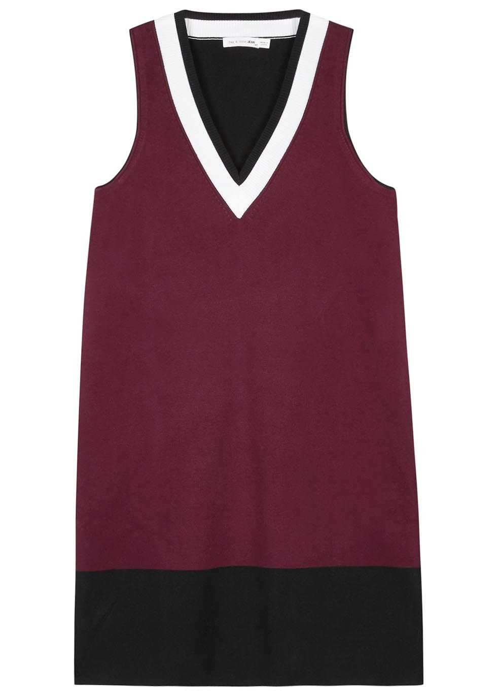 Ainsley Ribbed Cotton Blend Dress - style: shift; length: mid thigh; neckline: v-neck; sleeve style: sleeveless; predominant colour: burgundy; secondary colour: black; occasions: evening; fit: body skimming; fibres: cotton - mix; sleeve length: sleeveless; texture group: cotton feel fabrics; pattern type: fabric; pattern: colourblock; multicoloured: multicoloured; season: s/s 2016