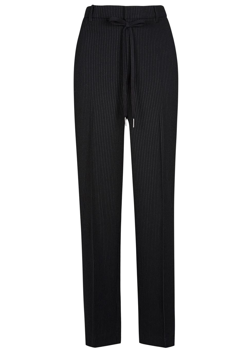 Black Pinstripe Wide Leg Trousers - length: standard; pattern: plain; waist: high rise; waist detail: belted waist/tie at waist/drawstring; secondary colour: white; predominant colour: black; fibres: silk - mix; texture group: crepes; fit: wide leg; pattern type: fabric; style: standard; occasions: creative work; season: s/s 2016; wardrobe: basic