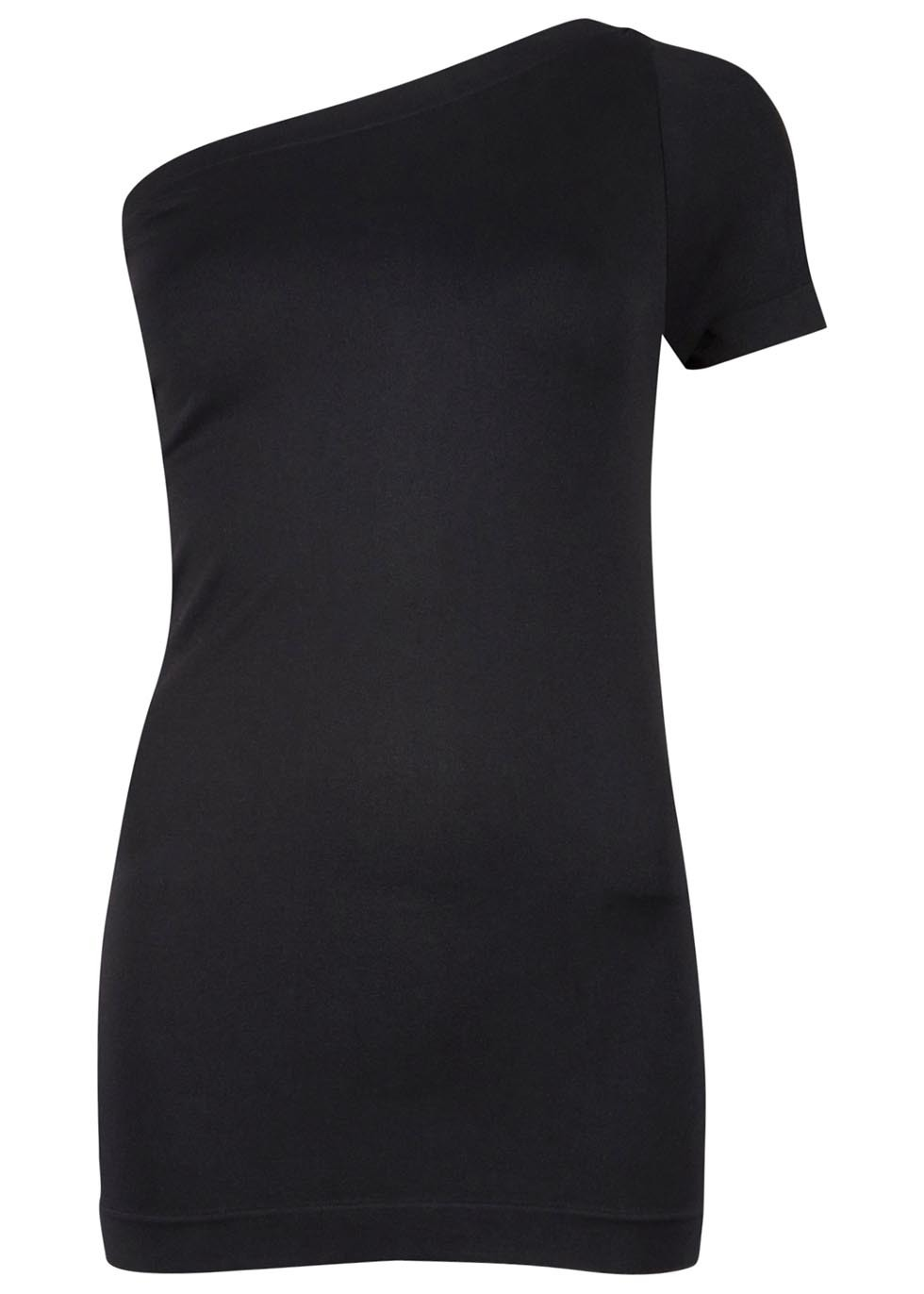 Black One Shoulder Stretch Jersey Top - pattern: plain; neckline: asymmetric; predominant colour: black; occasions: casual; length: standard; style: top; fit: body skimming; sleeve length: short sleeve; sleeve style: standard; pattern type: fabric; texture group: jersey - stretchy/drapey; fibres: nylon - stretch; season: s/s 2016; wardrobe: basic