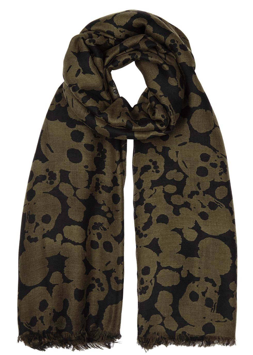 Camouflage Skull Olive Silk Blend Scarf - predominant colour: khaki; secondary colour: black; occasions: casual, creative work; type of pattern: standard; style: regular; size: standard; material: fabric; pattern: patterned/print; season: s/s 2016; wardrobe: highlight