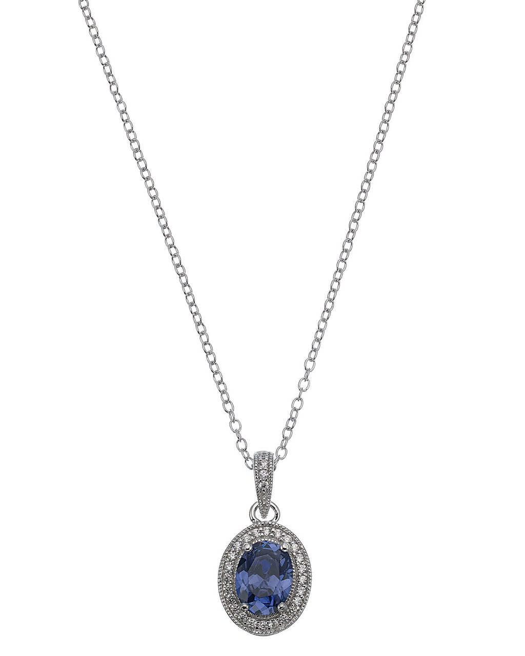 Vintage Tanz Oval Pendant - secondary colour: navy; predominant colour: silver; occasions: evening, occasion; style: pendant; length: long; size: large/oversized; material: chain/metal; finish: metallic; embellishment: jewels/stone; season: s/s 2016; wardrobe: event