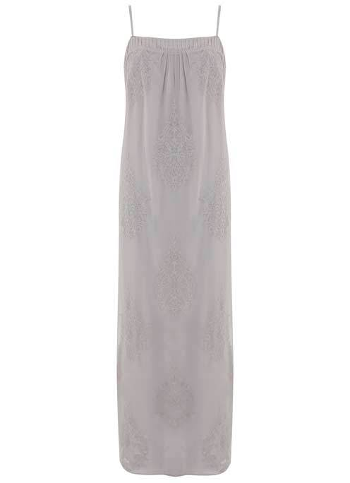 Dove Embroidered Maxi Dress - sleeve style: spaghetti straps; pattern: plain; style: maxi dress; length: ankle length; predominant colour: light grey; occasions: evening; fit: body skimming; fibres: viscose/rayon - 100%; sleeve length: sleeveless; neckline: medium square neck; pattern type: fabric; texture group: other - light to midweight; embellishment: embroidered; season: s/s 2016