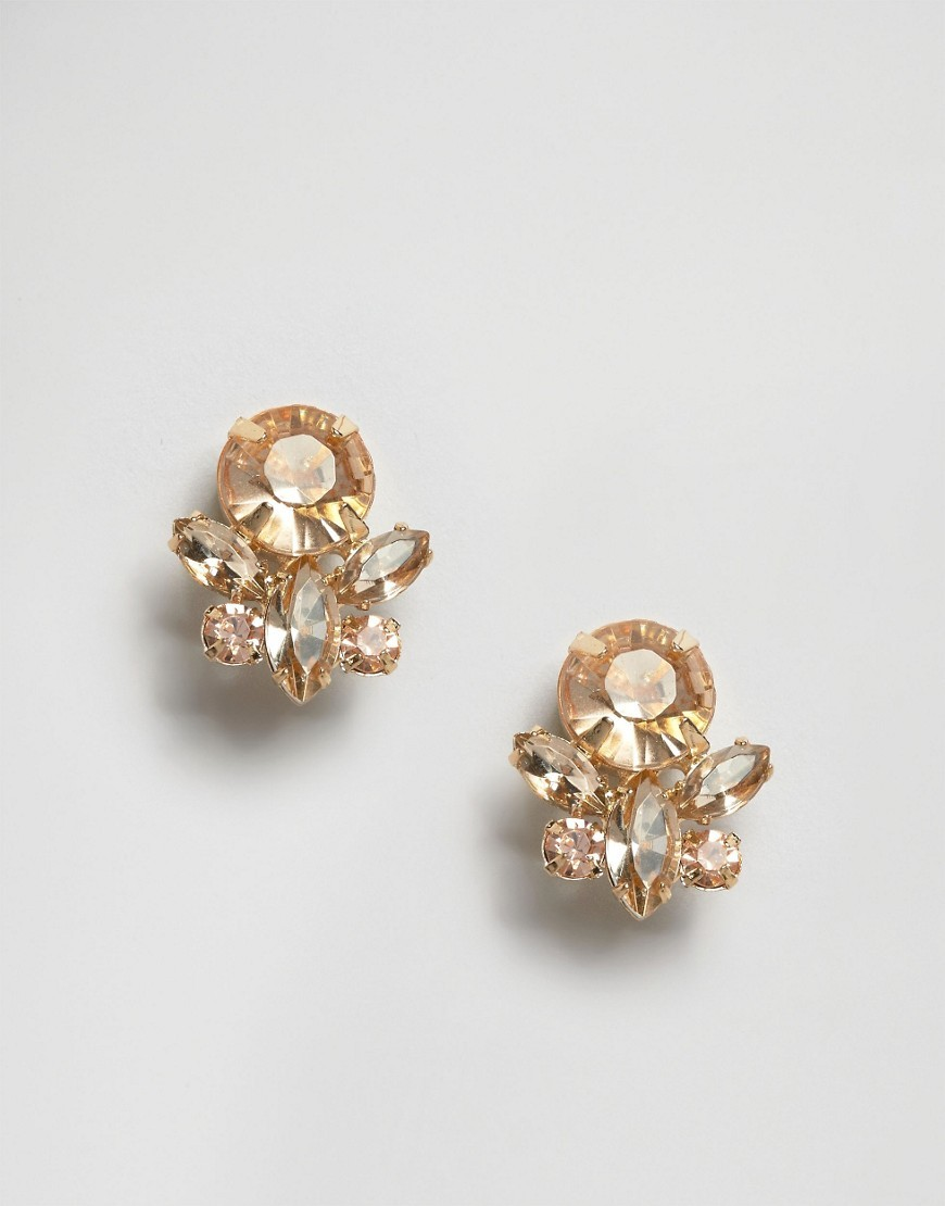 Pretty Stone Stud Earrings Peach - predominant colour: gold; occasions: evening, occasion; style: stud; length: short; size: small/fine; material: chain/metal; fastening: pierced; finish: metallic; embellishment: jewels/stone; season: s/s 2016; wardrobe: event