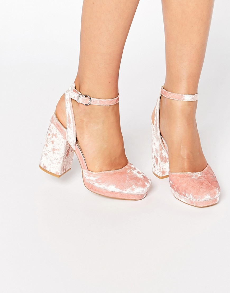 Putney Velvet High Heels Pink Velvet - predominant colour: pink; occasions: evening, occasion; material: velvet; heel height: high; ankle detail: ankle strap; heel: block; toe: square toe; style: courts; finish: metallic; pattern: plain; season: s/s 2016; wardrobe: event