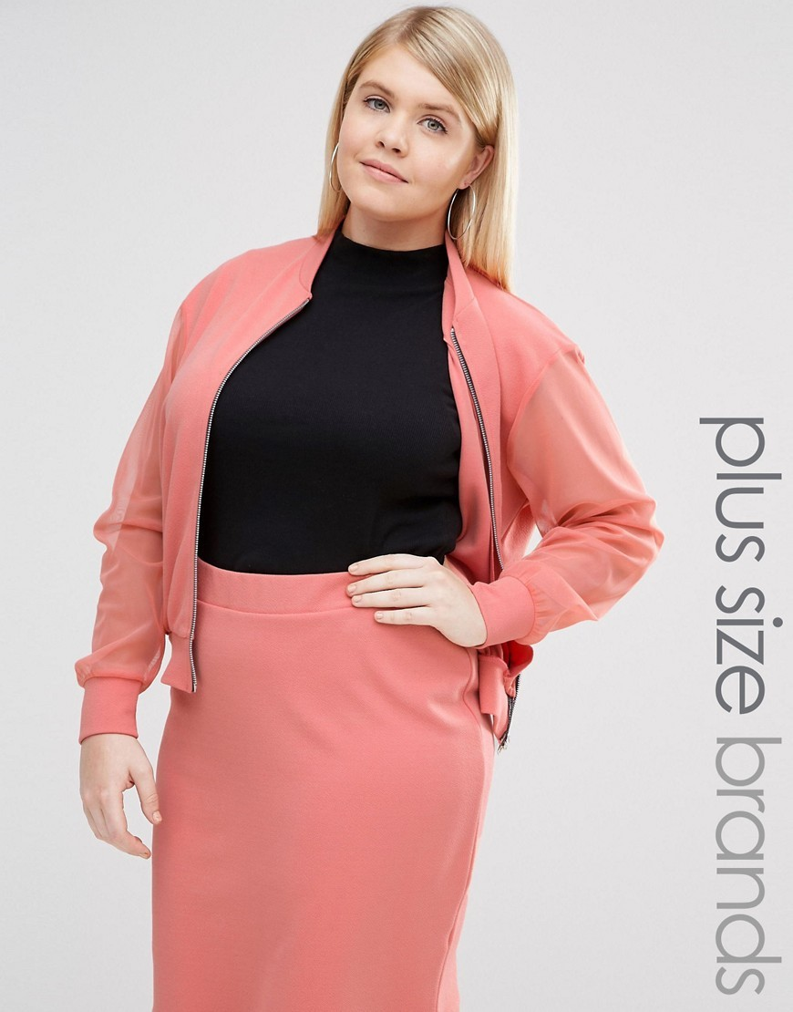 Bomber With Sheer Sleeve Pink - pattern: plain; collar: round collar/collarless; fit: slim fit; style: bomber; predominant colour: pink; occasions: casual, creative work; length: standard; fibres: polyester/polyamide - stretch; sleeve length: long sleeve; sleeve style: standard; collar break: high; pattern type: fabric; texture group: other - light to midweight; season: s/s 2016; wardrobe: highlight