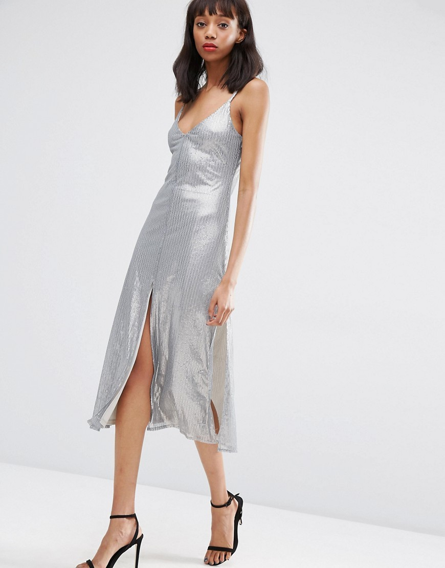 Night Embellished Metal Sequin Cami Midi Dress Grey - length: below the knee; neckline: low v-neck; sleeve style: spaghetti straps; pattern: plain; predominant colour: silver; occasions: evening; fit: body skimming; style: slip dress; fibres: polyester/polyamide - 100%; sleeve length: sleeveless; pattern type: fabric; texture group: jersey - stretchy/drapey; embellishment: sequins; season: s/s 2016; wardrobe: event