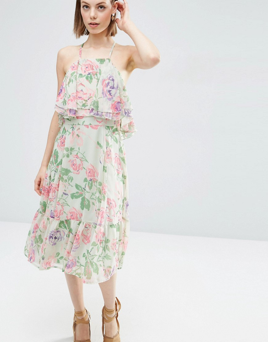 Floral Ruffle Top And Ruffle Hem Midi Dress Multi - style: shift; length: calf length; neckline: high square neck; sleeve style: spaghetti straps; bust detail: subtle bust detail; predominant colour: ivory/cream; secondary colour: pink; occasions: evening; fit: body skimming; fibres: polyester/polyamide - 100%; sleeve length: sleeveless; texture group: sheer fabrics/chiffon/organza etc.; pattern type: fabric; pattern: florals; multicoloured: multicoloured; season: s/s 2016; wardrobe: event