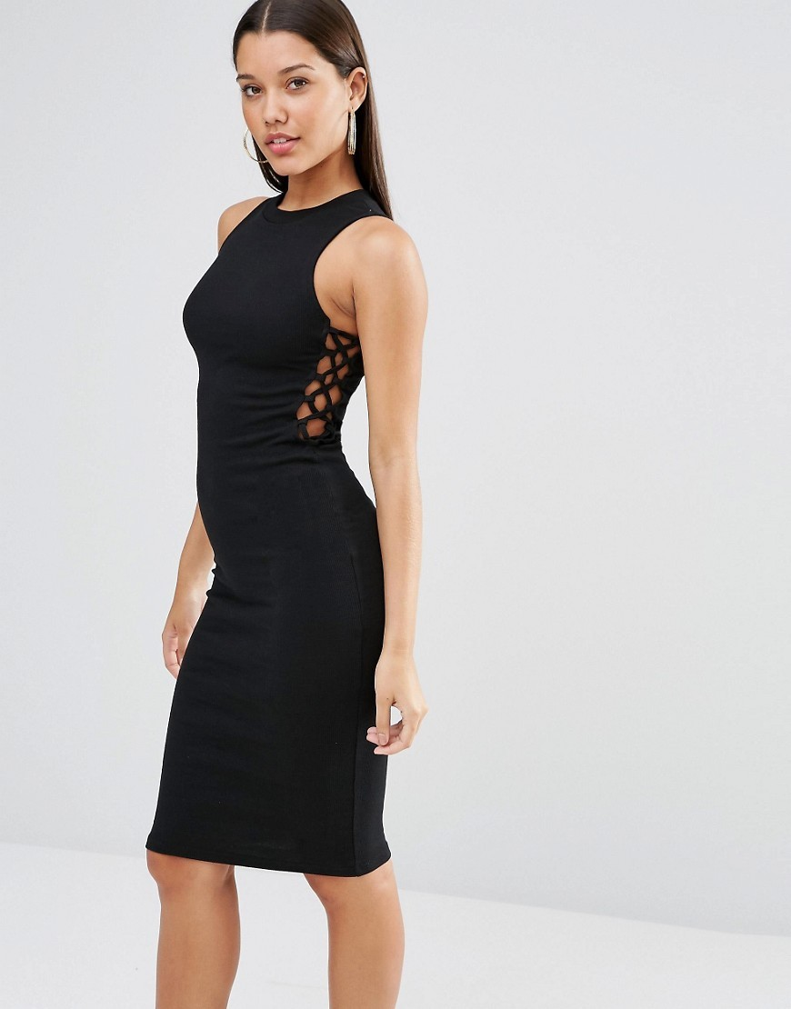 Rib Midi Lace Up Side Dress Black - fit: tight; pattern: plain; sleeve style: sleeveless; style: bodycon; predominant colour: black; occasions: evening; length: on the knee; fibres: cotton - stretch; neckline: crew; sleeve length: sleeveless; texture group: jersey - clingy; pattern type: fabric; season: s/s 2016