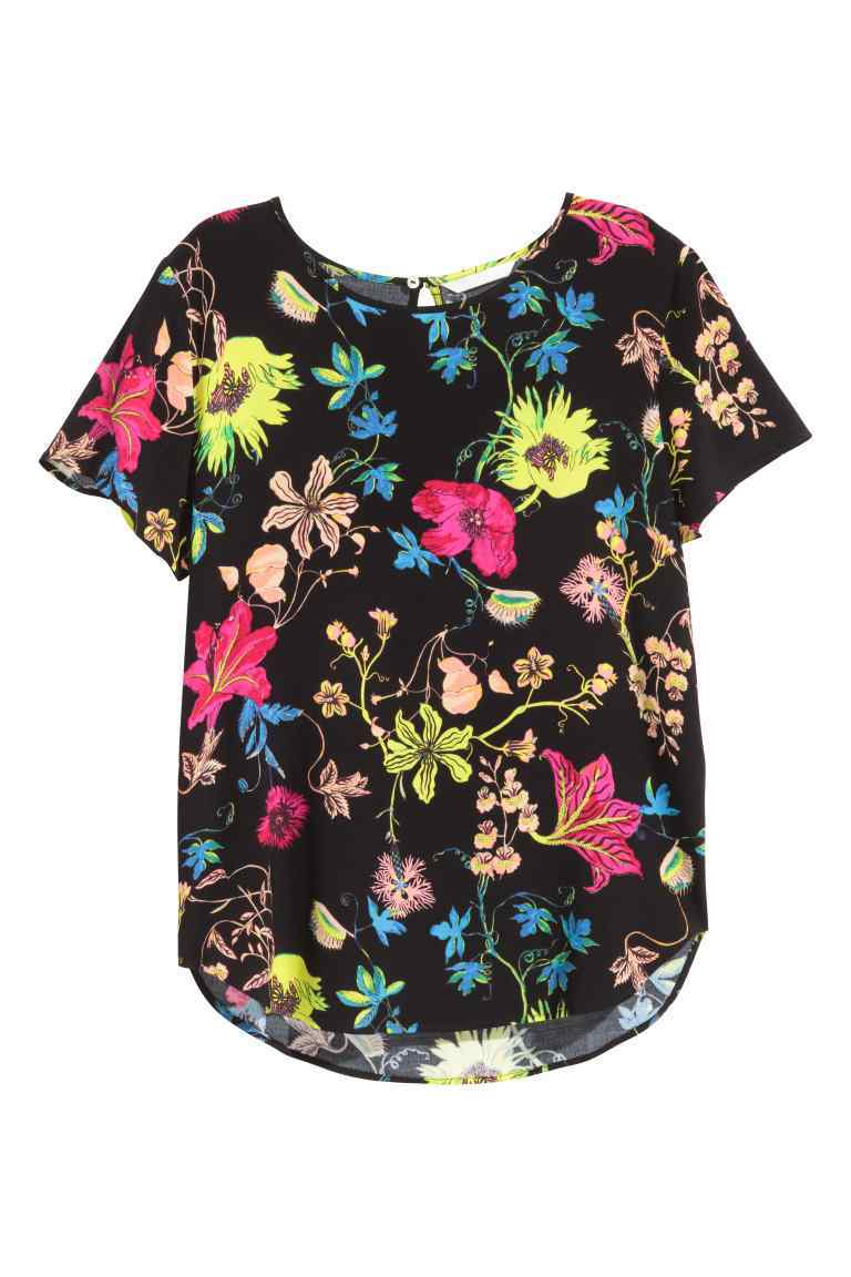 Short Sleeved Blouse - neckline: round neck; length: below the bottom; style: blouse; secondary colour: hot pink; predominant colour: black; occasions: casual, creative work; fibres: viscose/rayon - 100%; fit: loose; sleeve length: short sleeve; sleeve style: standard; pattern type: fabric; pattern size: standard; pattern: florals; texture group: woven light midweight; multicoloured: multicoloured; season: s/s 2016; wardrobe: highlight