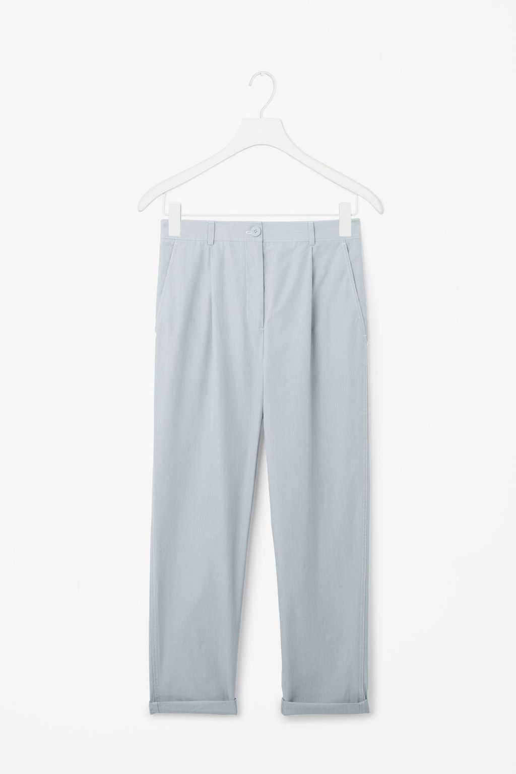 Straight Chino Trousers - pattern: plain; waist: mid/regular rise; predominant colour: light grey; length: ankle length; style: chino; fibres: polyester/polyamide - 100%; texture group: crepes; fit: slim leg; pattern type: fabric; occasions: creative work; season: s/s 2016; wardrobe: basic