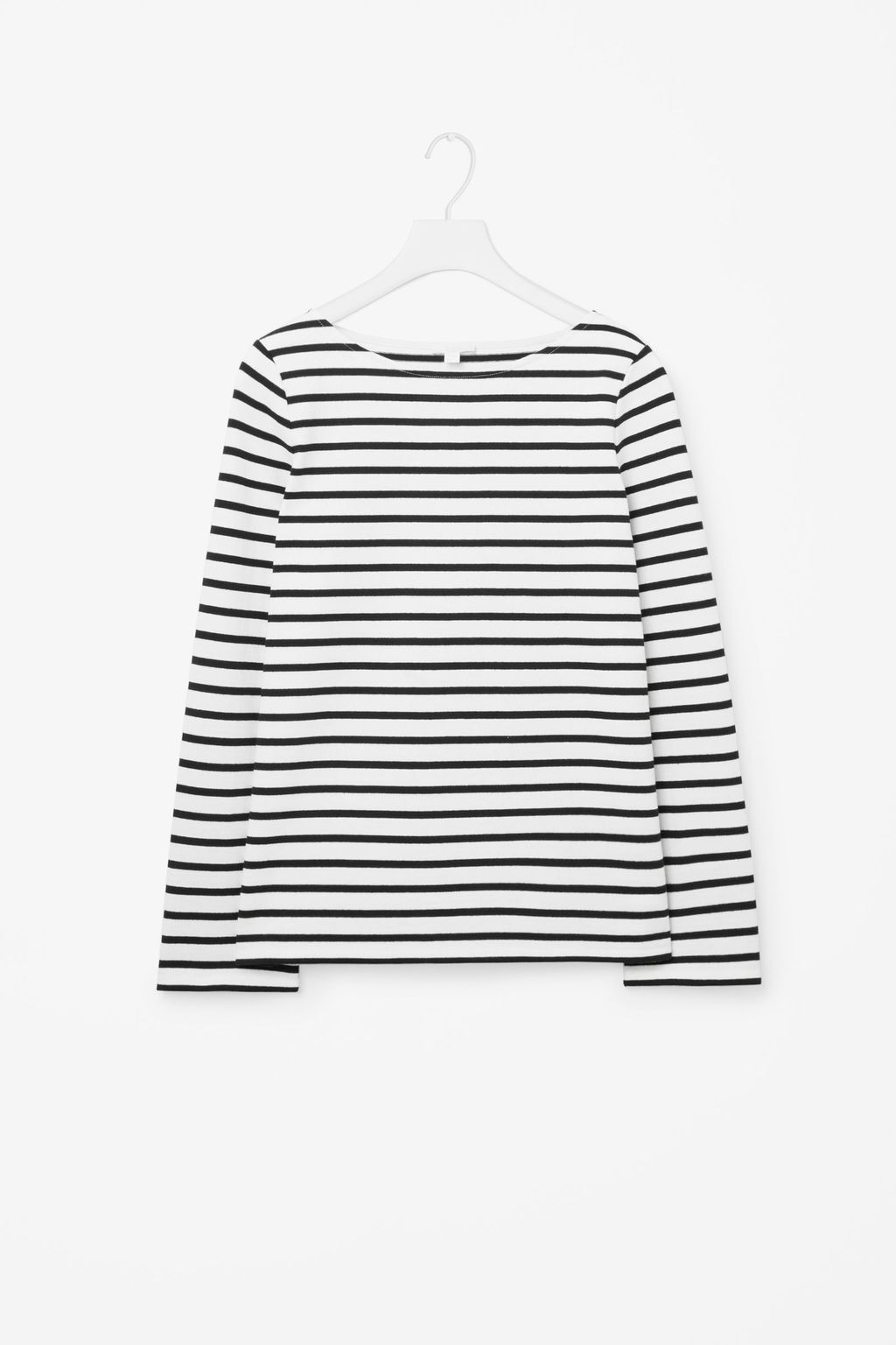 Striped Cotton Jumper - neckline: round neck; pattern: horizontal stripes; style: standard; predominant colour: white; secondary colour: black; occasions: casual; length: standard; fibres: cotton - 100%; fit: standard fit; sleeve length: long sleeve; sleeve style: standard; texture group: knits/crochet; pattern type: knitted - fine stitch; pattern size: big & busy (top); season: s/s 2016; wardrobe: highlight