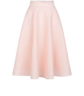 Shell Pink Airtex Balloon Midi Skirt - length: below the knee; pattern: plain; style: full/prom skirt; fit: loose/voluminous; waist: mid/regular rise; predominant colour: blush; occasions: evening; fibres: polyester/polyamide - 100%; pattern type: fabric; texture group: jersey - stretchy/drapey; season: s/s 2016