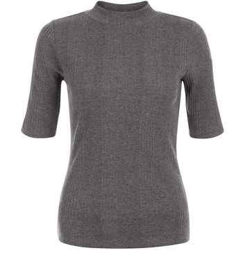 Grey Ribbed Funnel Neck 1/2 Sleeve Top - pattern: plain; neckline: high neck; predominant colour: charcoal; occasions: casual; length: standard; style: top; fibres: cotton - mix; fit: body skimming; sleeve length: short sleeve; sleeve style: standard; pattern type: fabric; texture group: jersey - stretchy/drapey; season: s/s 2016