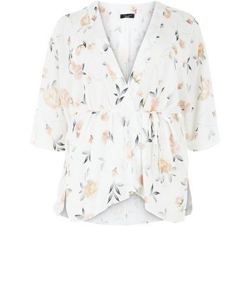 Curves White Floral Print Kimono - sleeve style: dolman/batwing; collar: round collar/collarless; fit: loose; length: below the bottom; predominant colour: ivory/cream; secondary colour: nude; occasions: casual; fibres: polyester/polyamide - 100%; waist detail: belted waist/tie at waist/drawstring; sleeve length: half sleeve; collar break: medium; pattern type: fabric; pattern size: light/subtle; pattern: florals; texture group: woven light midweight; style: fluid/kimono; season: s/s 2016; wardrobe: highlight