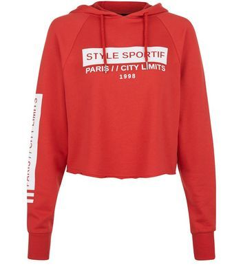 Red Style Sportif Cropped Hoodie - neckline: round neck; back detail: hood; secondary colour: white; predominant colour: true red; occasions: casual, activity; length: standard; style: top; fibres: cotton - mix; fit: straight cut; sleeve length: long sleeve; sleeve style: standard; pattern type: fabric; pattern size: standard; texture group: jersey - stretchy/drapey; pattern: graphic/slogan; season: s/s 2016