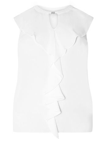 Ivory Frill Front Blouse - pattern: plain; sleeve style: sleeveless; length: below the bottom; style: blouse; predominant colour: white; occasions: evening, work, creative work; neckline: peep hole neckline; fibres: polyester/polyamide - 100%; fit: body skimming; sleeve length: sleeveless; bust detail: tiers/frills/bulky drapes/pleats; pattern type: fabric; texture group: other - light to midweight; season: s/s 2016