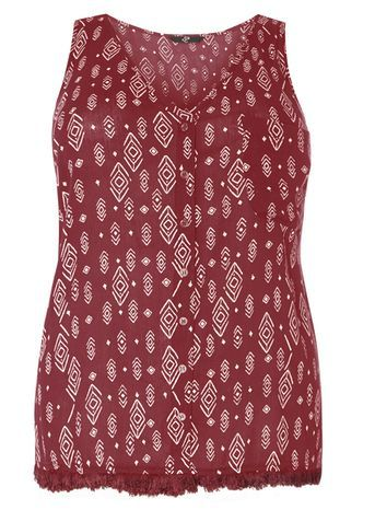 Red Printed Sleeveless Top - neckline: v-neck; sleeve style: standard vest straps/shoulder straps; style: vest top; secondary colour: white; predominant colour: burgundy; occasions: casual, holiday; length: standard; fibres: viscose/rayon - 100%; fit: body skimming; sleeve length: sleeveless; pattern type: fabric; pattern size: standard; pattern: patterned/print; texture group: woven light midweight; season: s/s 2016; wardrobe: highlight