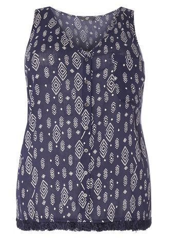 Blue Printed Sleeveless Top - neckline: v-neck; sleeve style: standard vest straps/shoulder straps; style: vest top; secondary colour: white; predominant colour: navy; occasions: casual, holiday; length: standard; fibres: viscose/rayon - 100%; fit: body skimming; sleeve length: sleeveless; pattern type: fabric; pattern size: standard; pattern: patterned/print; texture group: woven light midweight; season: s/s 2016; wardrobe: highlight