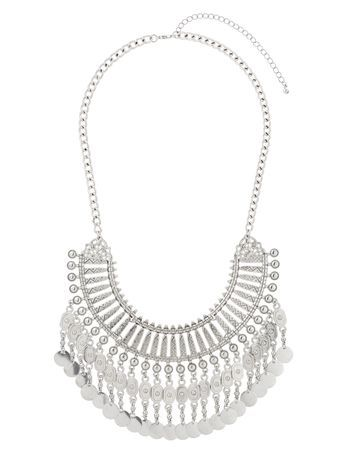 Statement Ethnic Collar Necklace - predominant colour: silver; occasions: evening; style: choker/collar/torque; length: mid; size: large/oversized; material: chain/metal; finish: metallic; season: s/s 2016