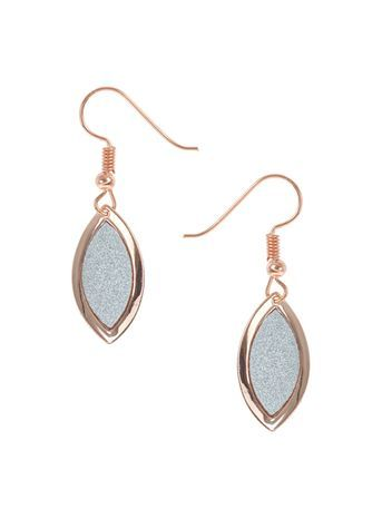 Glitter Leaf Drop Earring - secondary colour: silver; predominant colour: gold; occasions: evening, occasion; style: drop; length: mid; size: standard; material: chain/metal; fastening: pierced; finish: metallic; embellishment: glitter; season: s/s 2016; wardrobe: event